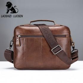 LAOSHIZI LUOSEN Tas Selempang Pria Messenger Bag Bahan Kulit - 91203 - Brown - 3