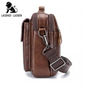 LAOSHIZI LUOSEN Tas Selempang Pria Messenger Bag Bahan Kulit - 91203 - Brown - 4