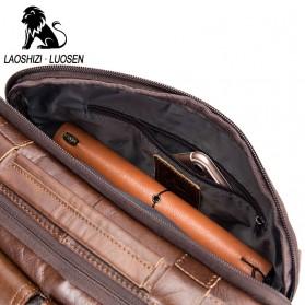 LAOSHIZI LUOSEN Tas Selempang Pria Messenger Bag Bahan Kulit - 91203 - Brown - 6