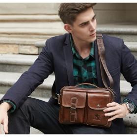 LAOSHIZI LUOSEN Tas Selempang Pria Messenger Bag Bahan Kulit - 91203 - Brown - 7