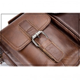 LAOSHIZI LUOSEN Tas Selempang Pria Messenger Bag Bahan Kulit - 91203 - Brown - 10