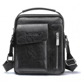 WEIXIER Tas Selempang Pria Messenger Bag PU Leather - 8602 - Black