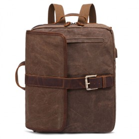G-FAVOR Tas Ransel Retro 2 Way dengan USB Charger Port - YD5393 - Coffee - 1