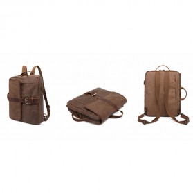 G-FAVOR Tas Ransel Retro 2 Way dengan USB Charger Port - YD5393 - Coffee - 2