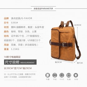 G-FAVOR Tas Ransel Retro 2 Way dengan USB Charger Port - YD5393 - Coffee - 8