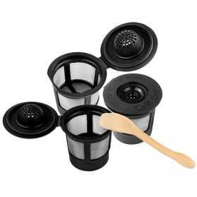 Penyaring Kopi Reusable Coffee Filter Keurig K Cup 3 PCS with Spoon - A0481 - Black - 3