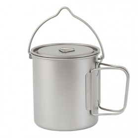 Gelas Mug Foldable Handle Ultralight Titanium Pot 750ml - Ta8310 - Silver