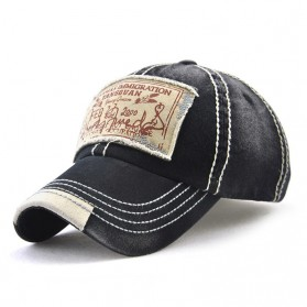 Topi Baseball Cap Retro Embroider Print Patch - 12930 - Black