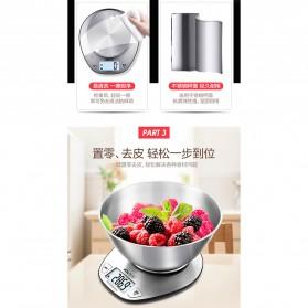 SENSSUN Timbangan Dapur Digital 5kg 1g - EK518 - Silver - 2