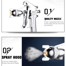 LUPING Professional Spray Gun Pneumatic Airbrush Car 400ML - F-75-G - Silver - 8