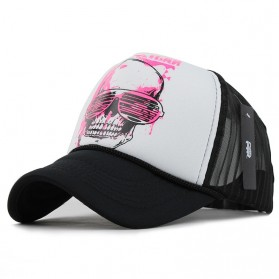 Topi Trucker Baseball Skull Quick Drying Mesh - F227 - Black