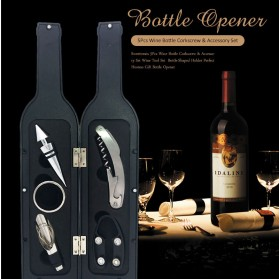 Sweettreats Perlengkapan Set Pembuka Tutup Botol Wine Bar Tools Corkscrew - Black