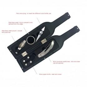 Sweettreats Perlengkapan Set Pembuka Tutup Botol Wine Bar Tools Corkscrew - Black - 4