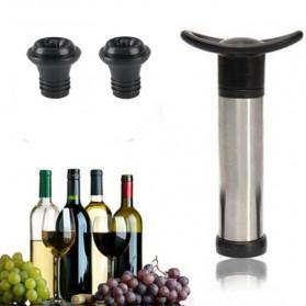 VanKood Pompa Penutup Botol Wine Silicone Vacuum Stopper - WN01 - Black
