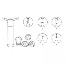 VanKood Pompa Penutup Botol Wine Silicone Vacuum Stopper - WN01 - Black - 6