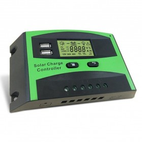 Solar Charger Controller Regulator Dual USB 12/24V for Solar Panel - DJ242001-2 - Green