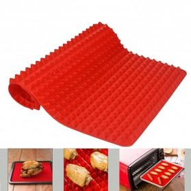 Aihogard Alas Masak Pyramid Silicone Non-stick Oven Baking Tray Mat - JJ1370-01 - Red