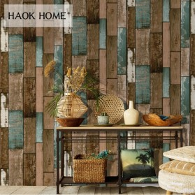 Wallpaper Dinding - HaokHome Sticker Wallpaper Dinding 3D Vintage Wood Grain 70x70 cm - Yellowish Brown