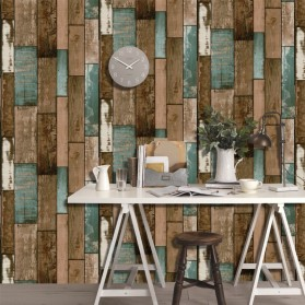 HaokHome Sticker Wallpaper Dinding 3D Vintage Wood Grain 70x70 cm - Yellowish Brown - 2