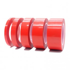 SZBFT Perekat Double Tape Acrylic Adhesive Transparent No Trace Sticker 15mm x 3m - J4702 - Red