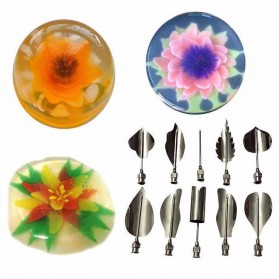 LINSBAYWU 3D Flower Leaves Pudding Jelly Art Tools Nozzle 10 PCS - Q23Q01 - Silver - 4