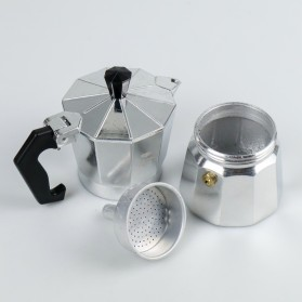 OneTwoCups Espresso Coffee Maker Moka Pot Teko Stovetop Filter 100ml 2 Cups - JF112 - Silver - 3