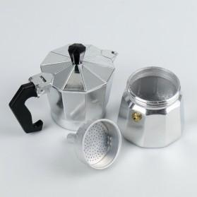 One Two Cups Espresso Coffee Maker Moka Pot Teko Stovetop Filter 100ml 2 Cups - JF112 - Silver - 3