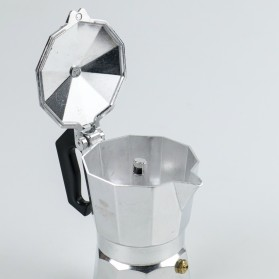 OneTwoCups Espresso Coffee Maker Moka Pot Teko Stovetop Filter 100ml 2 Cups - JF112 - Silver - 4