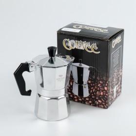 One Two Cups Espresso Coffee Maker Moka Pot Teko Stovetop Filter 100ml 2 Cups - JF112 - Silver - 9