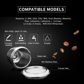 ICafilas Refillable Capsule Stainless Steel + Tamper for Nespresso Coffee Machine - F456 - Silver - 5