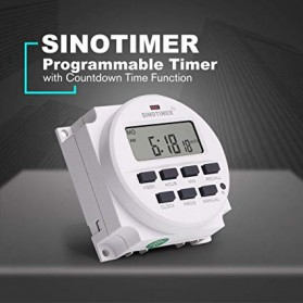 Sinotimer Programmable Timer Switch Relay Countdown Time 220V AC 7 Days - TM618N-2 - White - 2