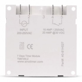 Sinotimer Programmable Timer Switch Relay Countdown Time 220V AC 7 Days - TM618N-2 - White - 4