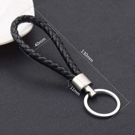 SANYU Gantungan Kunci Handmade Leather Rope Keychain - S1688 - Black - 2