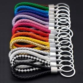 SANYU Gantungan Kunci Handmade Leather Rope Keychain - S1688 - Black - 4