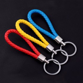 SANYU Gantungan Kunci Handmade Leather Rope Keychain - S1688 - Black - 5