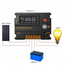 Meterk Solar Charger Controller Regulator 12V/24V 20A for Solar Panel - MPT20 - Black
