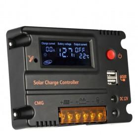 Meterk Solar Charger Controller Regulator 12V/24V 20A for Solar Panel - CMG2420 - Black - 2
