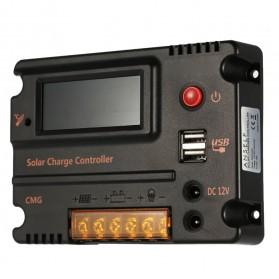 Meterk Solar Charger Controller Regulator 12V/24V 20A for Solar Panel - MPT20 - Black - 7