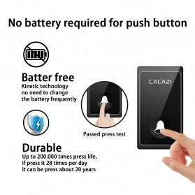 CACAZI FA10 Bel Pintu Wireless Remote Doorbell LED 36 Tunes 1 PCS Receiver - FA60 - Black - 4