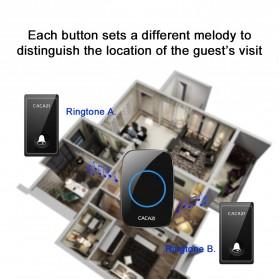 CACAZI FA10 Bel Pintu Wireless Remote Doorbell LED 36 Tunes 1 PCS Receiver - FA60 - Black - 5