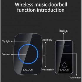 CACAZI FA10 Bel Pintu Wireless Remote Doorbell LED 36 Tunes 1 PCS Receiver - FA60 - Black - 6