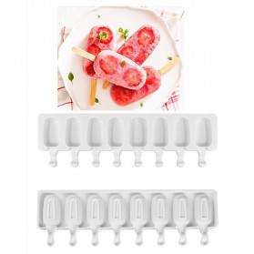 Allforhome Cetakan Es Krim 8 Hole Silicone Mold Dessert with Popsicle Sticks - JSC2821 - White - 4