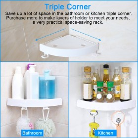 BATHE PROJECT Rak Gantungan Sudut Dinding Kamar Mandi Multifungsi Corner Shelf - OT001 - White - 3