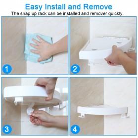 BATHE PROJECT Rak Gantungan Sudut Dinding Kamar Mandi Multifungsi Corner Shelf - OT001 - White - 6