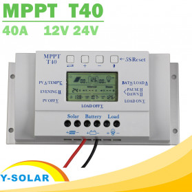 Y-SOLAR Solar Charger Controller Regulator 12V/24V 40A with Dual Timer for Solar Panel - MPPT T40 - White