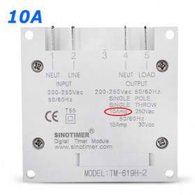 Sinotimer Programmable Timer Switch Relay Countdown Time 10A 220V AC - TM-619H-2 - White - 2