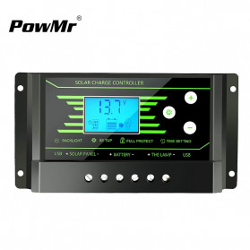 PowMr Solar Charger Controller Regulator 12V/24V 30A with Time Control for Solar Panel - Z30 - Black - 1