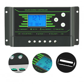 PowMr Solar Charger Controller Regulator 12V/24V 30A with Time Control for Solar Panel - Z30 - Black - 3