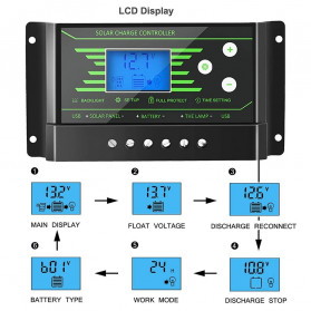 PowMr Solar Charger Controller Regulator 12V/24V 30A with Time Control for Solar Panel - Z30 - Black - 5