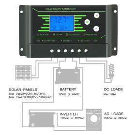 PowMr Solar Charger Controller Regulator 12V/24V 30A with Time Control for Solar Panel - Z30 - Black - 6